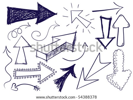 Collection of hand drawn doodle style arrows in various directions and styles. - stock photo