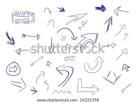 Collection of hand drawn doodle style arrows in various directions and styles(vector also available) - stock photo