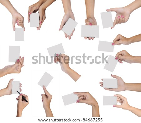Collection of hand holding blank card isolated on white background - stock photo
