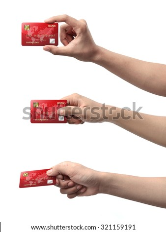 Collection of hand holding credit card isolated over white background - stock photo