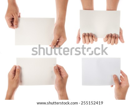 collection of hand holding paper isolated on white background - stock photo