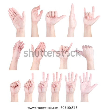 Collection of hand isolated on white background