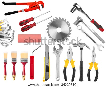 collection of hand tools isolated on a white background - stock photo