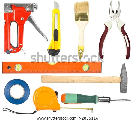 Collection of hand work tools on white background