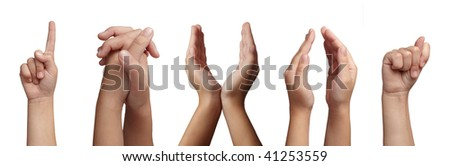 collection of hands gesturing on white background. each one is in full cameras resolution - stock photo