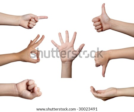 collection of hands gesturing, on white background. each one is in the full camera resolution