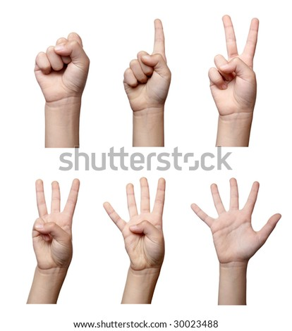 collection of hands gesturing, on white background , each one is in the full cameras resolution. - stock photo