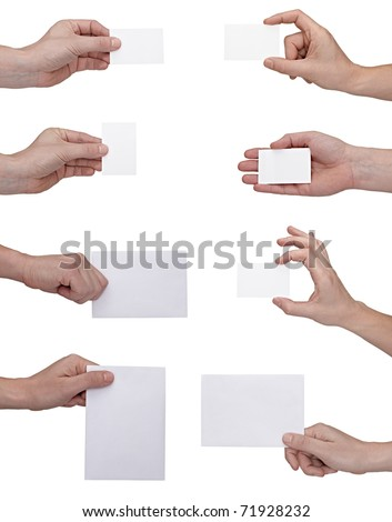 collection of  hands holding blank notes on white background. each one is shot separately - stock photo