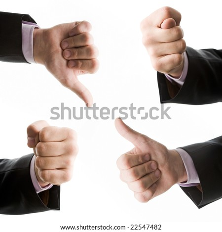 Collection of hands image isolated over white - stock photo