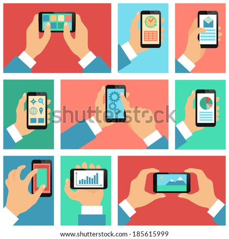 Collection of hands using mobile phone with business apps and social media content isolated  illustration - stock photo