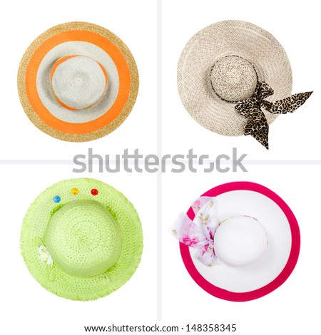 collection of hats isolated on white background - stock photo