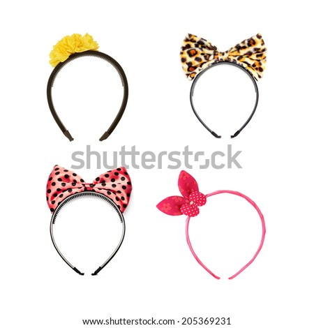 collection of headband on white background - stock photo