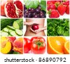 collection of healthy food - stock photo