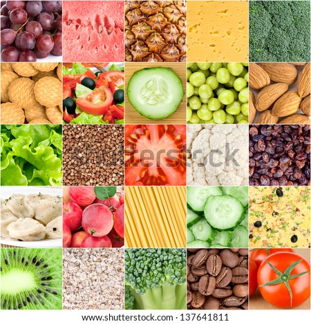 Collection of healthy food backgrounds - stock photo