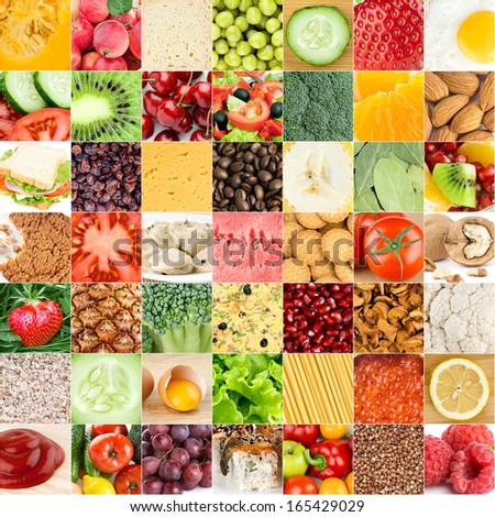 Collection of healthy fresh food backgrounds - stock photo