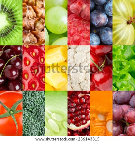 Collection of healthy fresh fruits and vegetables backgrounds - stock photo