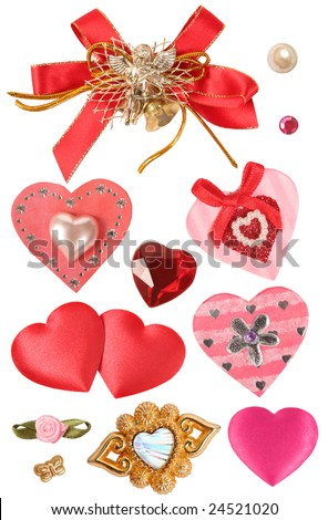 collection of hearts and decorative elements - stock photo