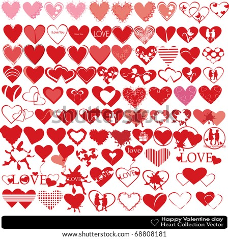 Collection of hearts of the different form the Valentine's day can be used for design