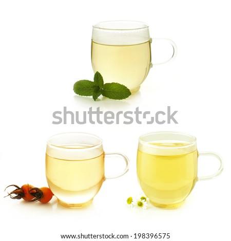 collection of herb tea: mint tea, rose hip tea and chamomile tea - stock photo