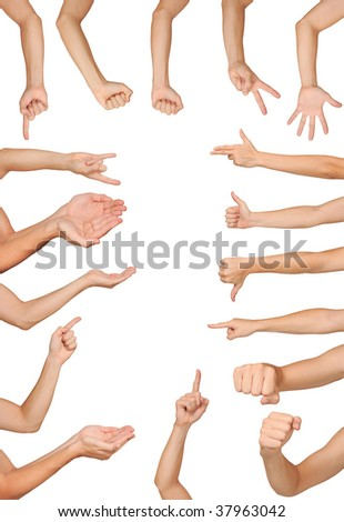 Collection of high resolution male hand gestures - stock photo