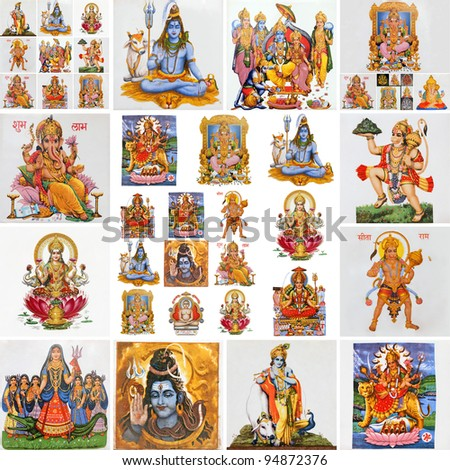 collection of hindu religious symbols, gods as : Lakshmi ...