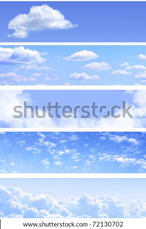 Collection of horizontal sky banners with white clouds in the blue sky - stock photo