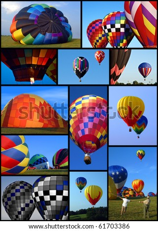 Collection of hot air balloons with many colors and blue skies