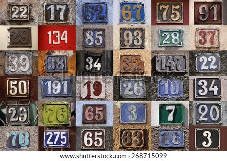Collection of House numbers, old house number, vintage - stock photo