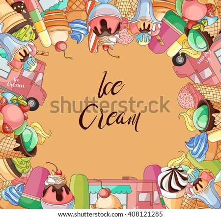 Collection of Ice Cream Design Elements.Illustration - stock photo
