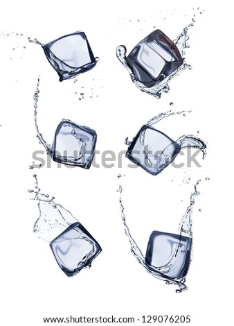 Collection of ice cubes with water splash, isolated on white background - stock photo
