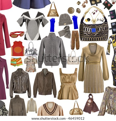 collection of icons of warm clothing for the Internet - stock photo