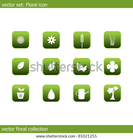 Collection of icons on the flora and ecology - stock photo