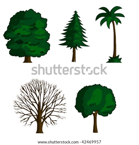 collection of illustration trees