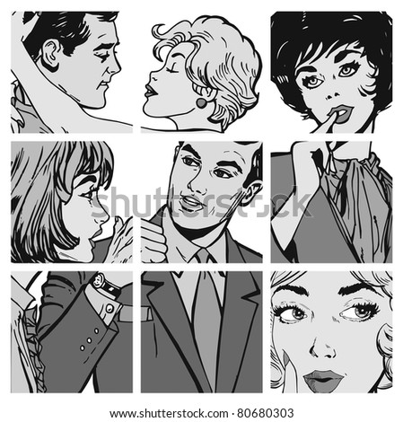 collection of illustrations young couple in love - stock photo