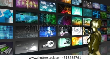 Collection of Images Forming the Appearance of TV Monitors
