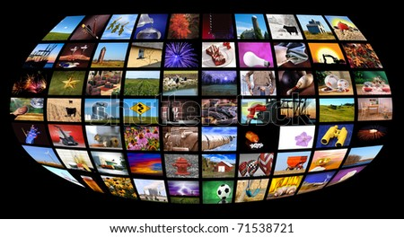 Collection of images forming the appearance of tv monitors shaped as a world screen with black background, all images shot by me - stock photo