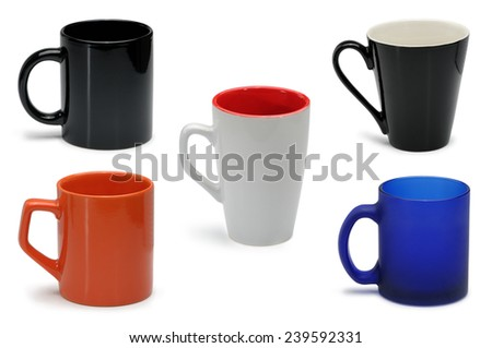 Collection of images of colored mugs and cups isolated on white background - stock photo