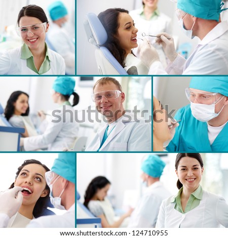 Collection of images of dentists at work - stock photo