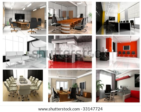 Collection of images of modern office 3d rendering - stock photo