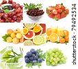 "collection of images on the theme of ""fruits"" - stock photo"