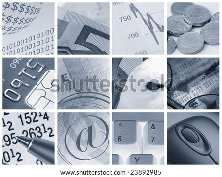 Collection of images relating to financial concepts - stock photo