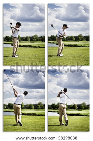Collection of images showing male golf player teeing off golf ball from tee box. - stock photo