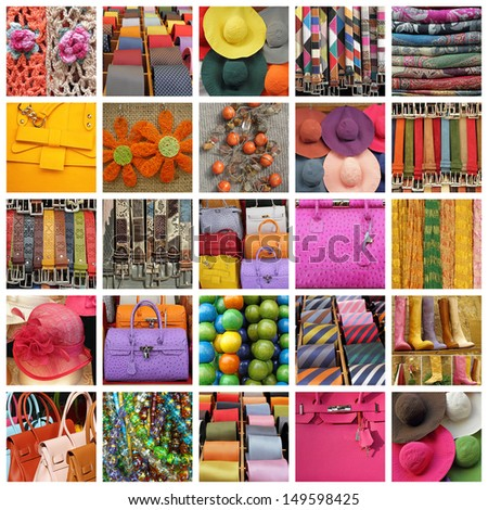 collection of images with women and men accessories - stock photo