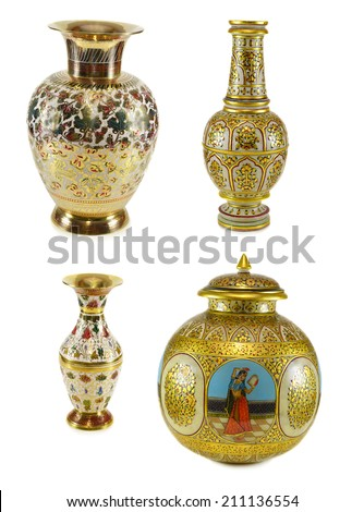 Collection Indian Vases Isolated On White Stock Photo Image