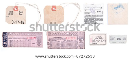 Collection of 8 individual images related to train travel, including old luggage claim tags and train tickets.  Isolated on white background. - stock photo