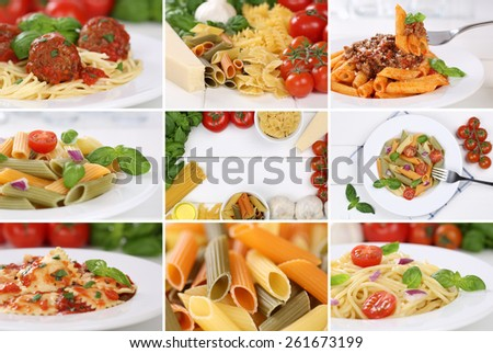 Collection of ingredients for a spaghetti pasta noodles meal with tomatoes and basil - stock photo