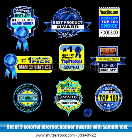 Collection of internet certification award banner for Black backgrounds