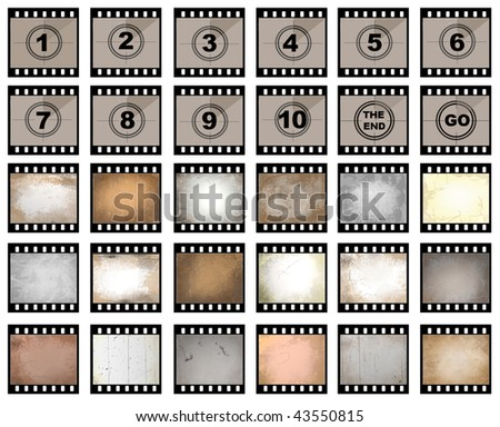 Collection of isolated film strip stills with number countdown and scratched - stock photo