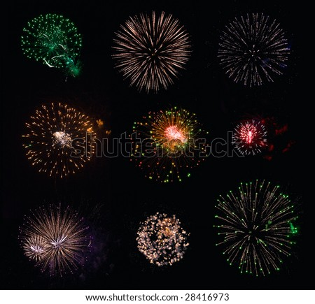 Collection #1 of 9 isolated fireworks on black background - stock photo