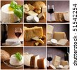 collection of italian cheese and wine - stock photo